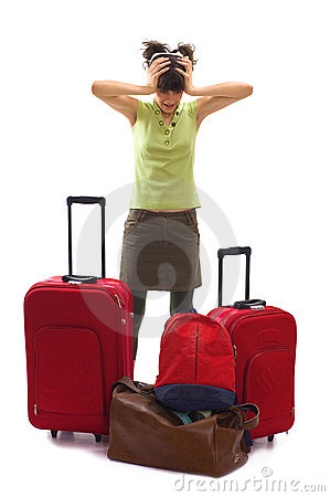 Travel with a lot of bags and luggages