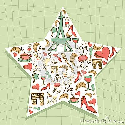 Travel Paris icon set star