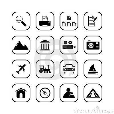 Travel and Photo icons - B&W series
