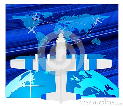 Plane  on Royalty Free Stock Photography  Travel Plane On Map  Image  13940587