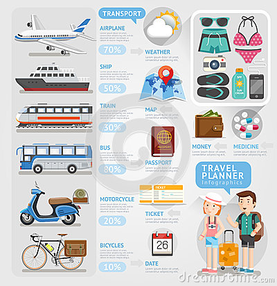 Travel planner infographics element. Vector Illustration
