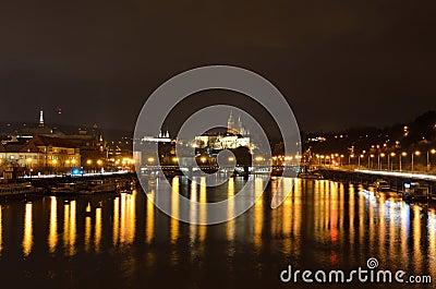 Travel in Prague at night