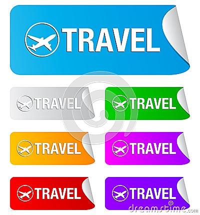 Travel, rectangular stickers