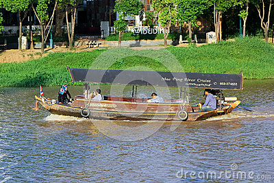 Travel Ship of  mae ping river cruise Editorial Photography