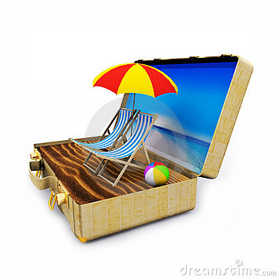 Travel Suitcase with Beach Chairs and Umbrella
