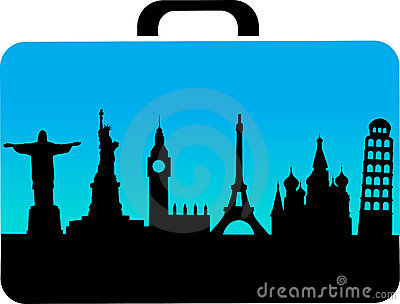Travel suitcase with cities icons
