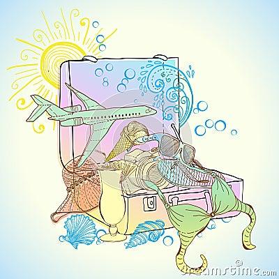 Travel suitcase illustration