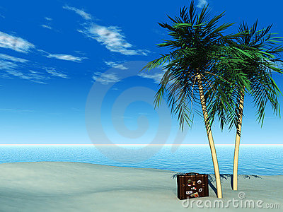 Travel suitcase on tropical beach.