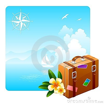 Travel suitcase and tropical flowers