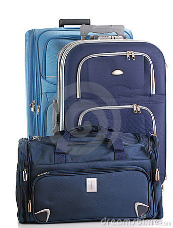 Travel suitcases isolated on white