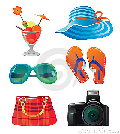 Travel and summer icon set