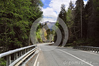 Travel in summer on the road in a car with a beautiful view of the mountains in Russia, the Caucasus Stock Photo