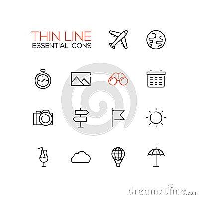 Free Travel Symbols - Thick Line Design Icons Set Royalty Free Stock Photography - 77318637