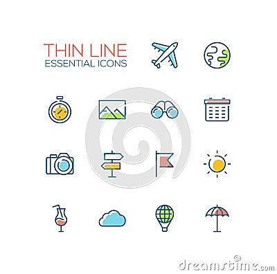 Free Travel Symbols - Thick Line Design Icons Set Stock Photos - 77318663
