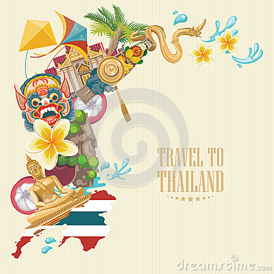 Free Travel Thailand Landmarks With Thailand Map. Thai Vector Icons. Stock Images - 76053724