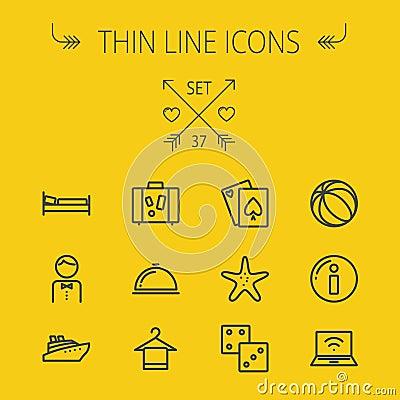 Free Travel Thin Line Icon Set Stock Images - 56309684