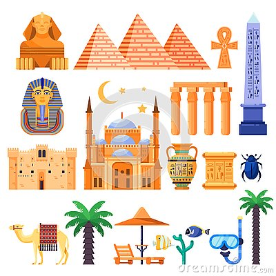 Free Travel To Egypt Vector Icons And Design Elements. Egyptian National Symbols And Ancient Landmarks Flat Illustration Stock Photos - 129374643