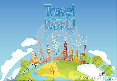 Travel to World. Road trip. Tourism. Landmarks Vector Illustration