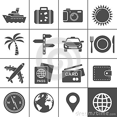 Travel and tourism icon set. Simplus series