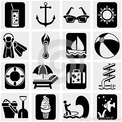 Travel and tourism,  summer vector icons set on gr