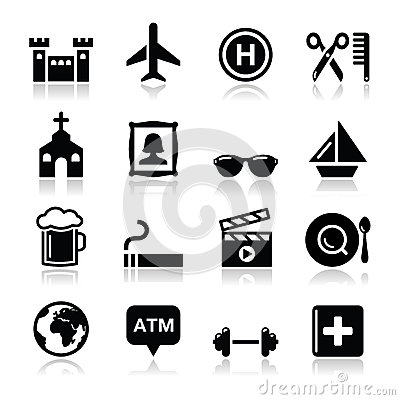 Travel tourism and transport icons set -
