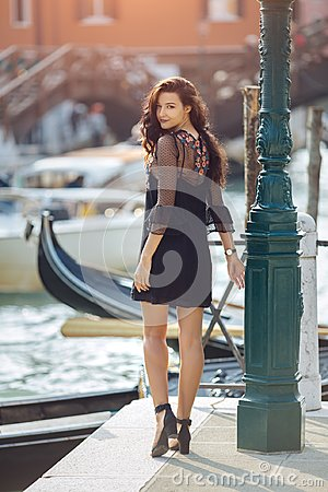 Free Travel Tourist Woman On Pier Against Beautiful View On Venetian Chanal In Venice, Italy. Royalty Free Stock Image - 113922306