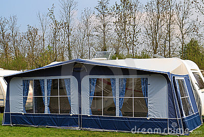 Travel trailer with awning tent 1