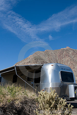 Travel trailer in desert