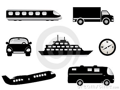 Travel, transportation icons