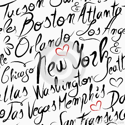 Travel Usa Destination Cities Seamless Pattern Stock