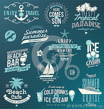 Travel and vacation emblems and symbols