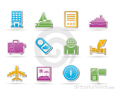 Travel, vacation and holidays icons