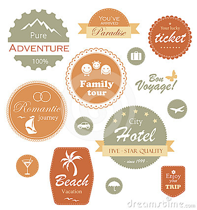 Travel and vacation label, badge and emblem set