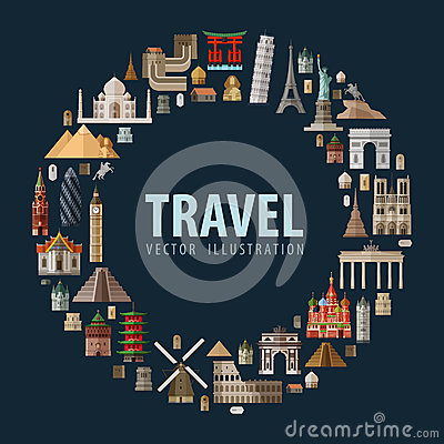 Travel. vacation a set of colored icons Vector Illustration