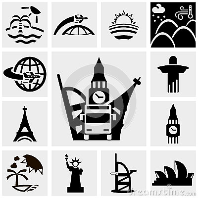 Travel vector icons set on gray