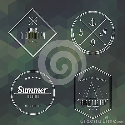 Travel vintage label on camouflage geometry background