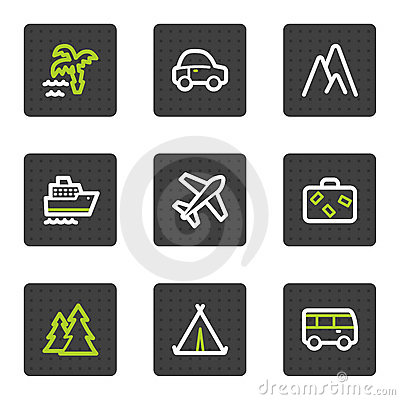 Travel web icons set 1, grey square buttons series
