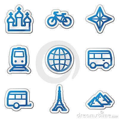 Travel web icons set 2, blue contour sticker