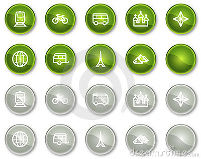 Travel web icons set 2, green circle buttons