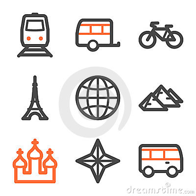 Travel web icons set 2, orange and gray contour