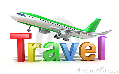 Travel word concept with plane isolated on white
