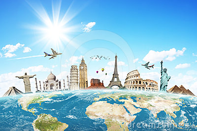 Travel the world clouds concept Stock Photo
