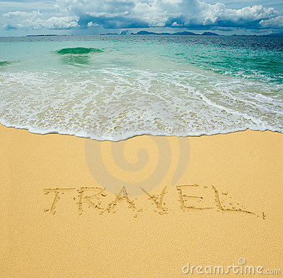Free Travel Written In A Sand Royalty Free Stock Photo - 4720515