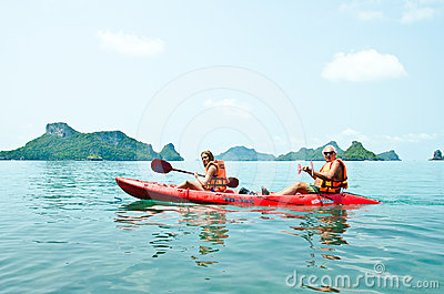 Traveler kayaking in the Gulf of Thailand Editorial Stock Photo