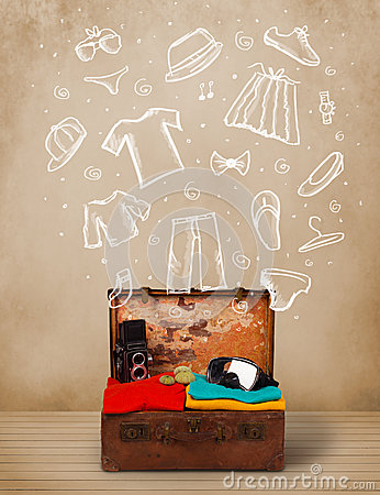 Traveler luggage with hand drawn clothes and icons