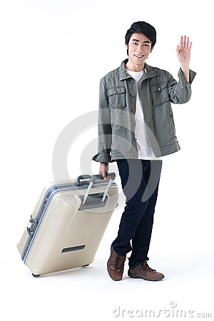 Traveler man waving hand