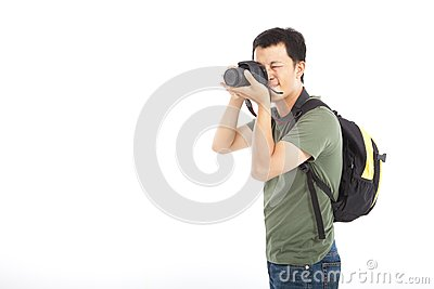 Traveler with photo camera