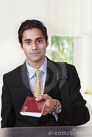Traveler showing passport