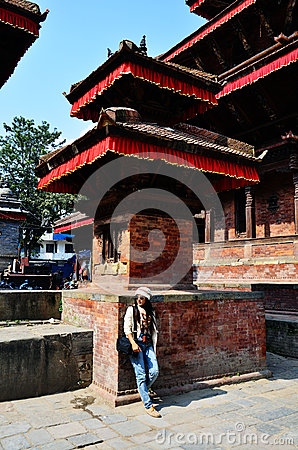 Free Traveler Thai Women In Basantapur Durbar Square At Kathmandu Nepal Stock Photography - 40494602