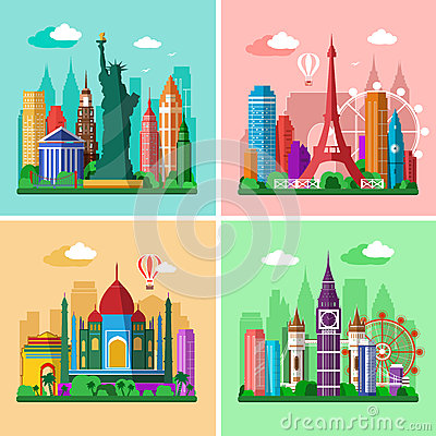 Free Traveling Around The World. Cities Skylines Set. Flat Landscapes Of London, Paris, New York And Delhi With Landmarks Royalty Free Stock Image - 66735316